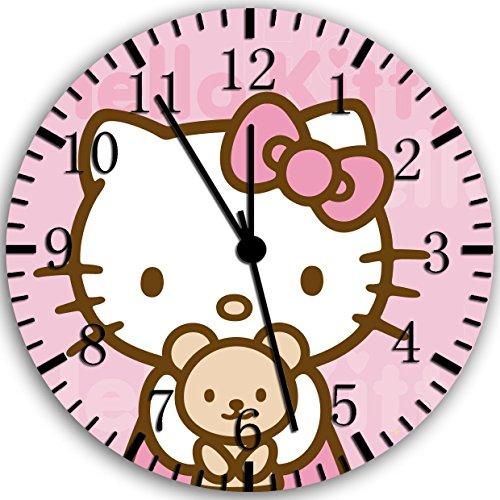 Borderless Hello Kitty Teddy Bear Frameless Wall Clock Z49 Nice for Decor Or Gifts ()