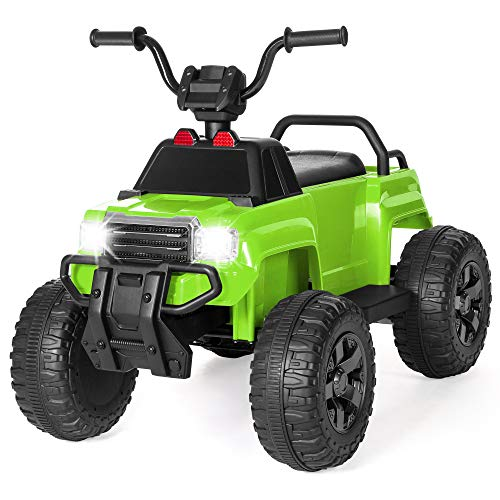 Best Choice Products 12V Kids Electric Ride-On 4-Wheel Quad ATV Toy Truck w/ LED Headlights, Reverse Gear, Remote Control, Cargo Area, 12V Battery Power - Green - Headlight Toy