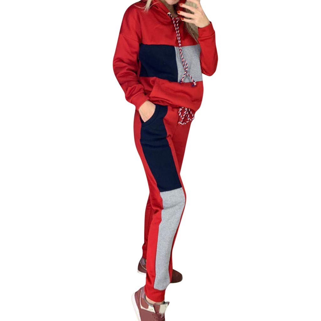 kingfansion Women's 2 Pieces Outfits Long Sleeve Zipper Jacket and Pants Set Tracksuits