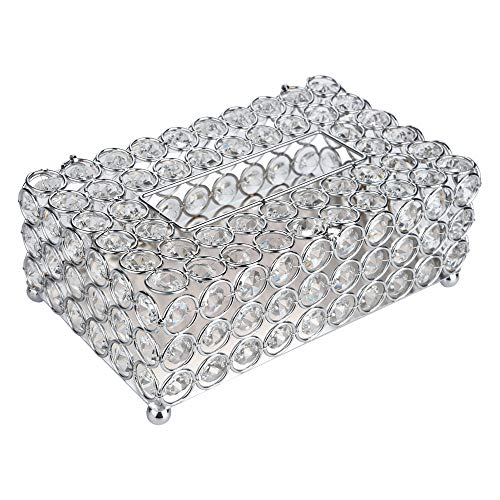"Anferstore Crystal Tissue Box Cover Rectangular-Decorative Tissue Box Cover Tissue Holder-Crystal Napkins Container-for Elegant Décor(7.87"" x 4.6"" x 3.75"") (Silver, ()"