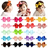 "DEEKA 20 PCS 4"" Grosgrain Ribbon Bows Headbands Fashion Hair Bows Hair Band for Baby Girls"