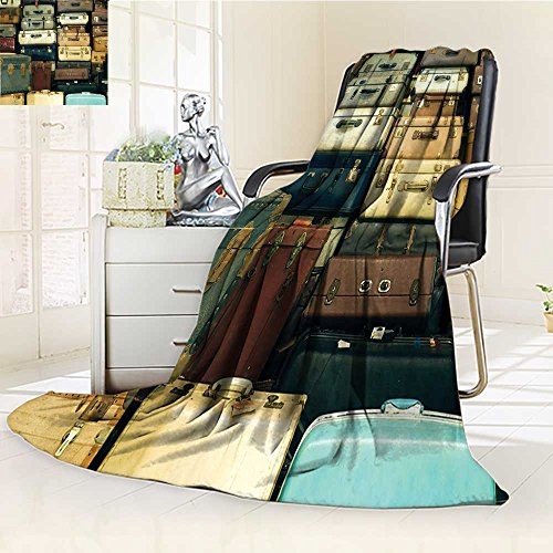 - YOYI-HOME Soft Plush Warm Duplex Printed Blanket Autumn WinterSuitcase Antique Leather Decorative Travel Gift Map Nostalgia Brown Cream Green for Anyone You love/W59 x H86.5