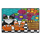 Cheap WOZO Hipster Cat Kitten Floral Print Area Rug Rugs Non-Slip Floor Mat Doormats for Living Room Bedroom 31 x 20 inches