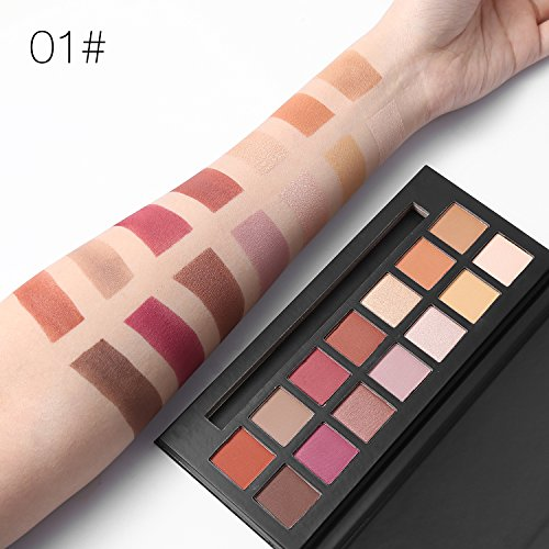 UCANBE Pro 14 Colors Eyeshadow Palette Matte & Shimmer Eye shadow Long Lasting Waterproof Makeup Collection (Sunset)