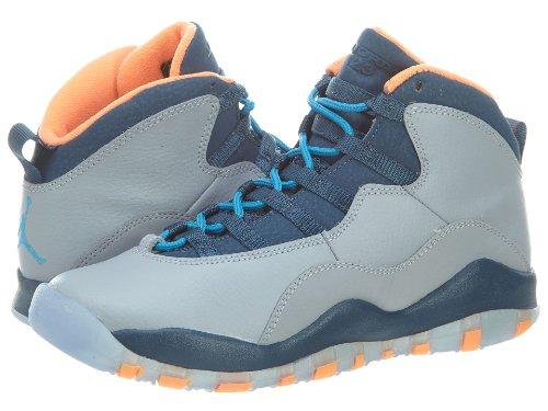 Orange Jordan Retro 10 Air Blue Jungen Grey Nike BG Turnschuhe qTP8En