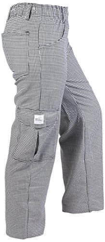Mercer Culinary M61071HTXS Genesis Women's Chef Cargo Pant in Hounds Tooth, X-Small, Black/White