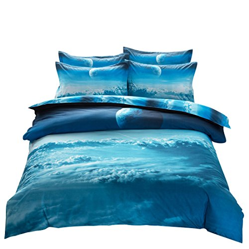 Blue Single Set (uxcell Galaxy 3D Bedding Sets Bedlinen Mysterious Sky Night Duvet Cover Set Single Size 4 Pieces Blue Clouds)