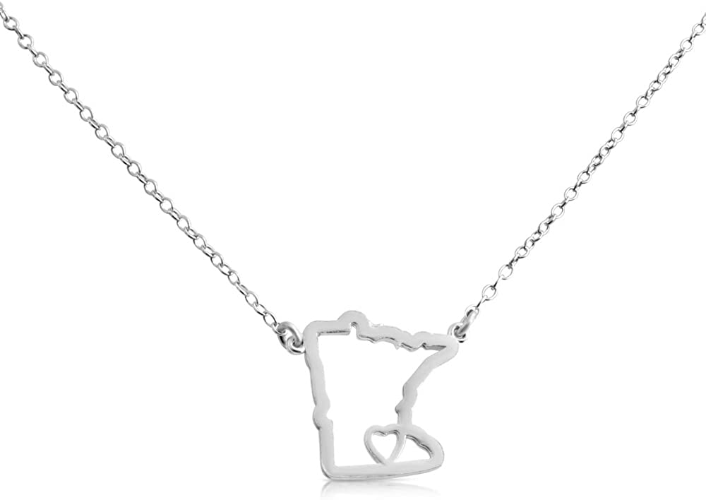 Belcho USA 925 Sterling Silver Small Minnesota -Home is Where The Heart is- Home State Necklace