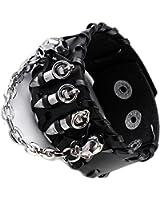 JOVIVI® Punk Genuine Leather Cuff Bracelet Wristband Bullet with Skull Style