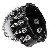 JOVIVI Punk Genuine Leather Cuff Bracelet Wristband Bullet with Skull Style