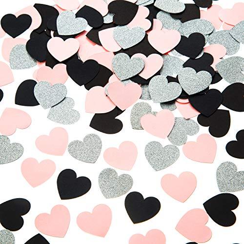 Heart Confetti Glitter Silver Pink Black Confetti for