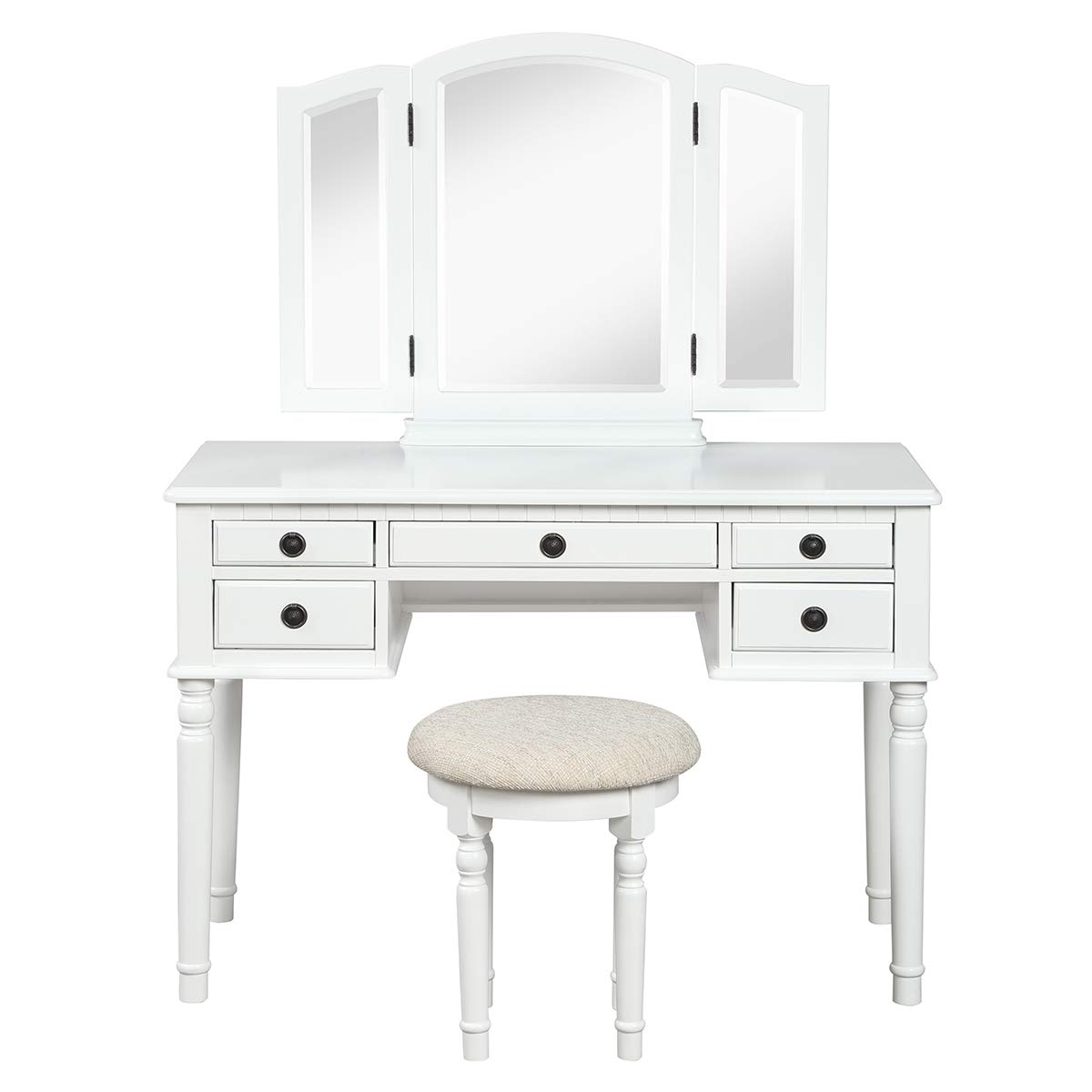 CHARMAID Vanity Set with Tri-Folding Mirror and 5 Drawers, Modern Bedroom Vanity Table with Detachable Top and 180 Rotating Mirror, Makeup Dressing Table with Cushioned Stool for Women Girls White