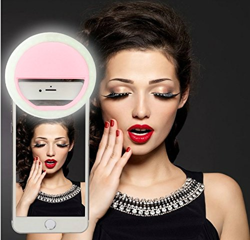 FLII Selfie Ring Light ( Rechargeable) - All Phones and Sizes. | Make Up - Small and Compact | Phone 7/6 plus/6s/6/5s/5/4s/4/Samsung Galaxy S6 Edge/S6/S5/S4/S3/Gal. Note 5/4/3/2 PR - Pr Pink