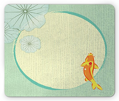 Lunarable Koi Mouse Pad, A Cartoon Fancy Chinese Fish Koi in Lily Pond Oriental Floral Eastern Print Artwork, Standard Size Rectangle Non-Slip Rubber Mousepad, Multicolor