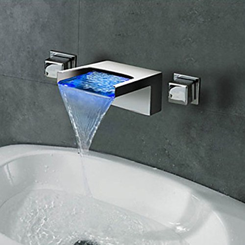 LightInTheBox Contemporary Wall Mounted Waterfall LED Color Changed Design Ceramic Valve Two Handles Three Holes Bathtub Faucet Bathroom Sink Faucet Chrome Finish Solid Brass ()