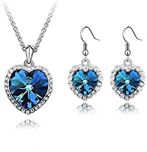 fashion white gold plated Austrian crystal heart s