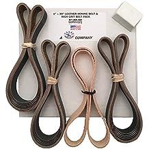 1x30 High Grit 15 Belt Pack of 600, 800, 1000 + Leather Strop (Honing Belt) & Compound Knife Sharpening Kit Made in USA