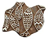 fish printing - Fish Pattern Hand Carved Wood Printing Blocks Textile Stamp Wooden Brown Block