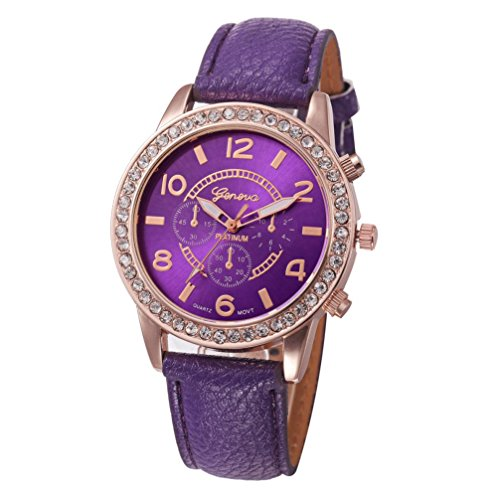 sic Watch Geneva Luxury Diamond Analog Leather Quartz Wrist Watches Bracelet Fashion (Purple) ()