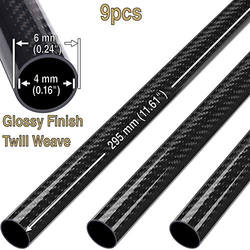 9(pcs) ComeTrue 6mm x 4mm x 295mm Length Glossy Twill Weave 3K Carbon Fiber Roll Wrapped Tube Pipe (Approx. 0.24