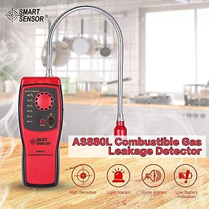 SMART SENSOR AS8800L Detector de gas combustible Herramienta de prueba de fugas de gas portátil