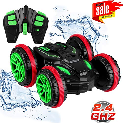 Blexy RC Stunt Car Remote Control Car Boat 4WD 6CH 2.4Ghz Off Road Electric Racing Vehicle 360° Spins & Flips Land Water Multifunction Amphibious Tank ()