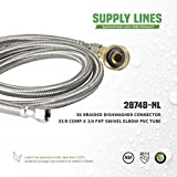 "Everflow Supplies 28748-NL Stainless Steel Dishwasher Supply Line with Swivel Elbow and with 3/8"" X 3/4"" Compression and Female Hose Thread Connect, 48"""