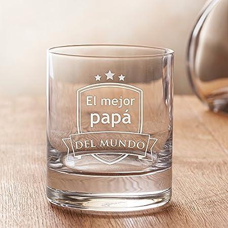 """AMAVEL – Vaso de Whisky con Grabado – """"El Mejor papá del Mundo"""" – con Estampado de Escudo – Obsequios para Hombres – Detalles para Él – Día del Padre – Fiesta de Cumpleaños"""