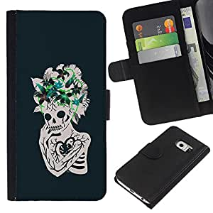 ZCell / Samsung Galaxy S6 EDGE / Floral Heart Skull Skeleton Flowers / Caso Shell Armor Funda Case Cover Wallet / Floral corazón crá