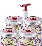 quart jar with vacuum lid - 4-Pack of Fermentation Lids with Extractor Pump for Wide Mouth Mason Jar