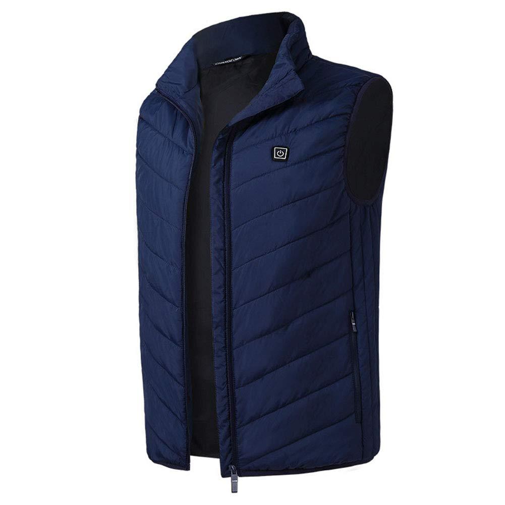 Winterheizweste, Elektro-Weste USB Thermostat Heizung Suit, Männer und Frauen Heizweste,Blau,S