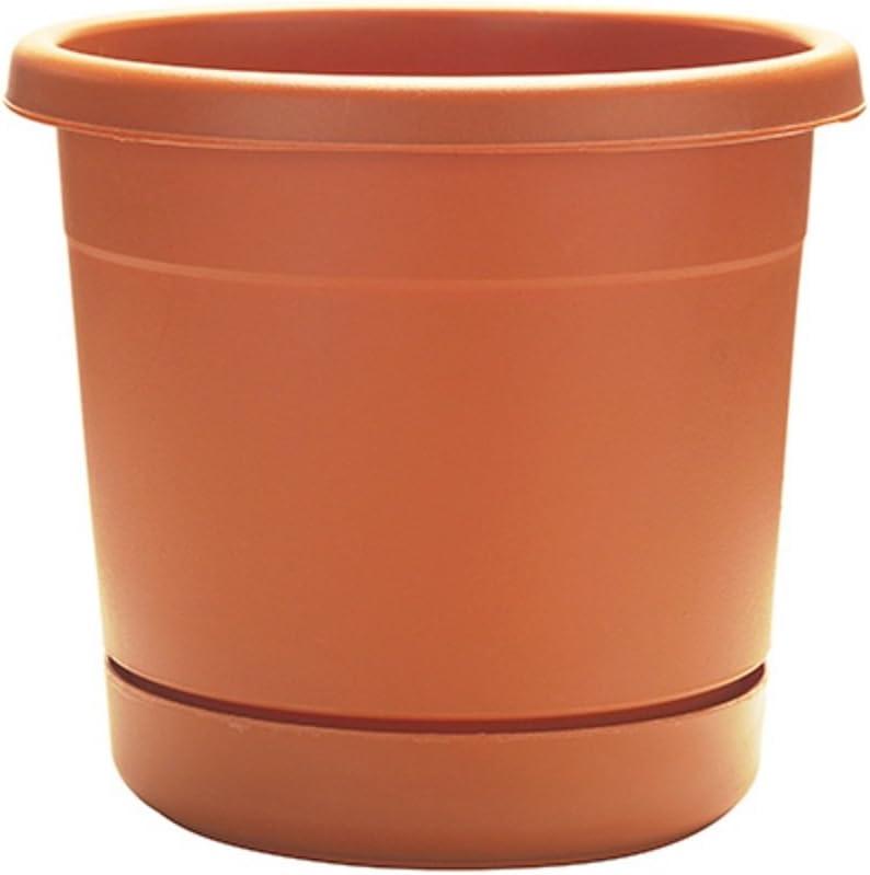"12 Pack ATT 8/"" Light Terra Cotta Resin Riverland Planter Pot w Saucer"