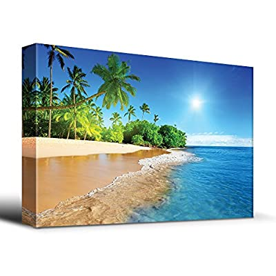 Palm Trees on Tropical Beach Vacation - Canvas Art Home Art - 12x18 inches