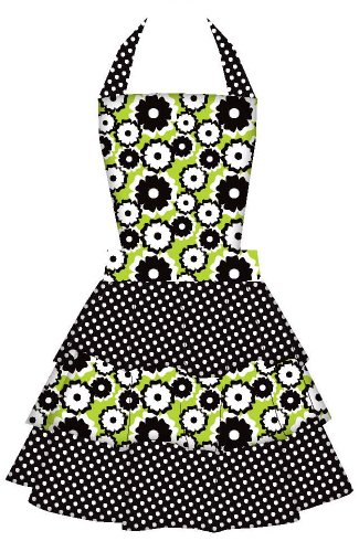 Gourmet Club Green Daisy Women's Hostess Bib Apron