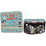 160 Traditional Assorted Colorful Classic Retro Glass Marbles In a Tin Kids Game