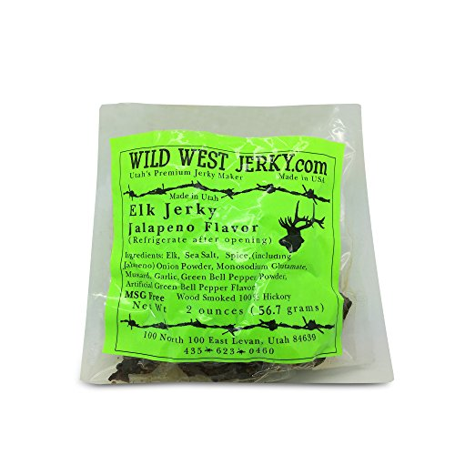 Smoked Elk - #1 BEST Premium 100% Natural Grass Fed Hand Stripped 2 OZ. Thick Cut Delicious Tasty Bold Flavor Elk Jerky from Utah USA - Wood smoked With Hickory Wood by Wild West Jerky (Jalapeño 1 Pack)