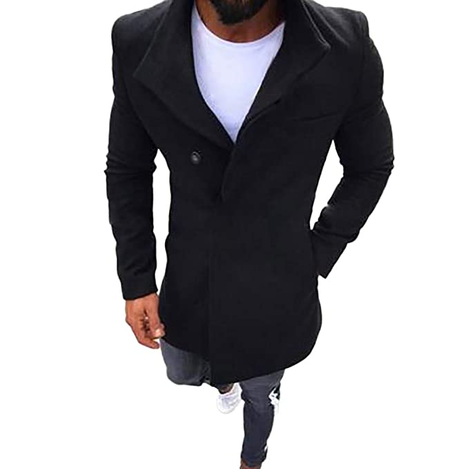 Mens Trench Coat Slim Fit Notched Collar Overcoat, Long Wool Blend Slim Fit Jacket Winter Classic Gentlemen Overcoat at Amazon Mens Clothing store: