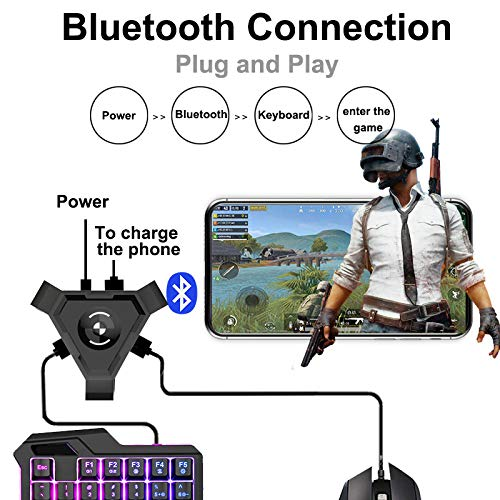 Alician Konverter PUBG Mobile Gamepad Controller Gaming-Tastaturmauskonverter für Android-Handys zu PC-Bluetooth-Adapter…