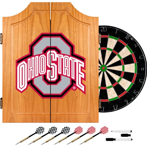 Trademark Ohio State University Dart Cabinet Includes Darts And Board (lrg7000-osu-blk) - by Trademark Commerce