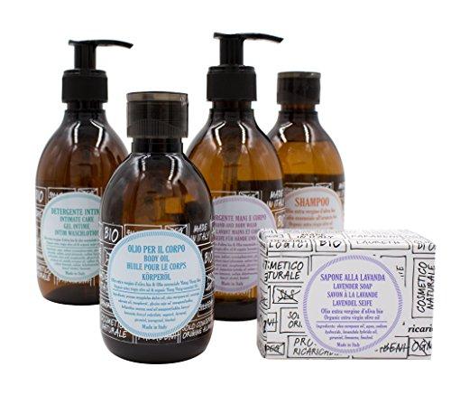 Weihnachtsaktion: ricaricando Bio Olivenöl Pflegeset mit 1 x Bio Flüssigseife (300 ml), 1 x Bio Olivenöl Festseife (140g), 1 x Bio Shampoo (300 ml), 1 x Bio Körperöl (200 ml) und 1 x Bio Intim-Waschlotion (300 ml)