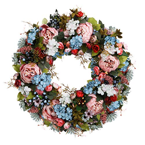 U'Artlines Artificial Peony Rose Berry Handcrafted Flower Wreath-22 Pink Flower Door Wreath with Green Leaves and Small Roses,Daisy Spring Wreath for Front Door, Wedding, Wall, Home Decor