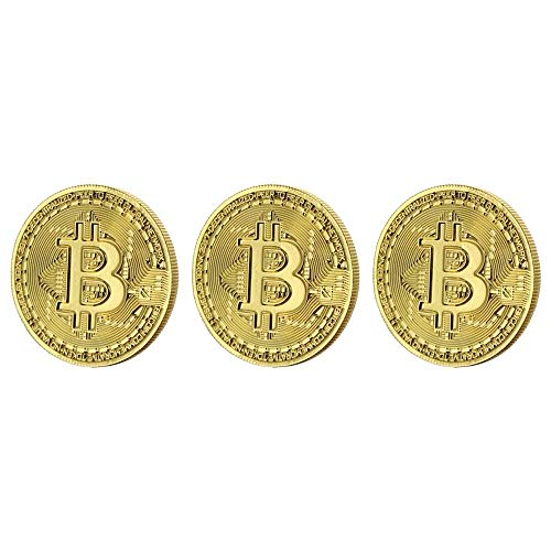 Toynk Bitcoin Gold Plated Replica 3 Piece Set | Commemorative Collector's Coin Props Cryptocurrency | Prop Money Perfect for Pop Culture Fans, Cosplay, Costume, Halloween, Parties, Theatre