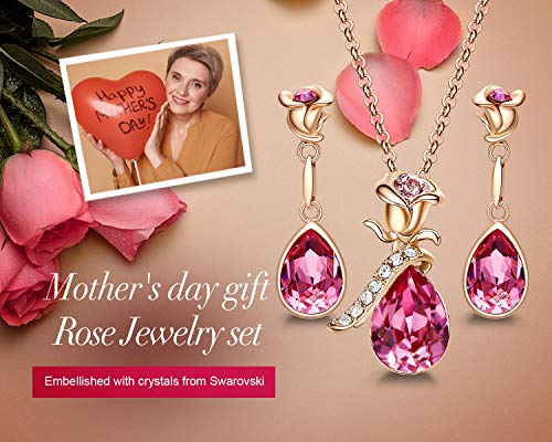 CDE Rose Flower Jewelry Set for Women Hypoallergenic 18K Rose Gold /White Gold Plated Ladies Necklace Embellished with… 2