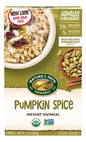Nature's Path Organic Instant Hot Oatmeal, Pumpkin Spice with Chia, 11.3 Ounce Box (6 - Pumpkin Oatmeal