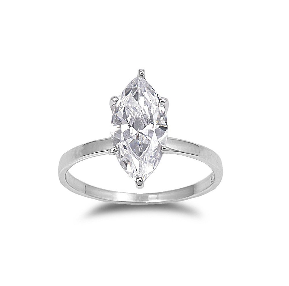 Marquise Clear Cubic Zirconia Classic Solitaire Ring 925 Sterling Silver Size 9
