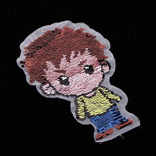 Cute Little Boy Sequin Patch Iron Sew on Embroidery Applique Cloth ()