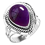 5.60ctw, Genuine Gemstone 10x14mm Pear & .925 Silver Overlay Handmade Fashion Rings