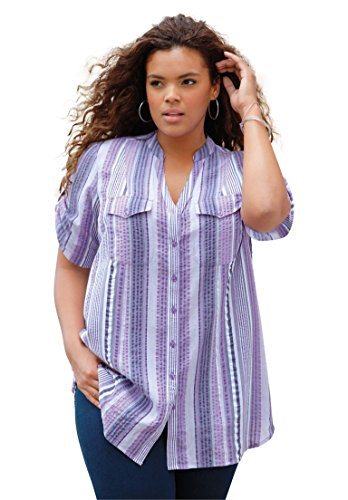 Roamans-Womens-Plus-Size-Seersucker-Shirt