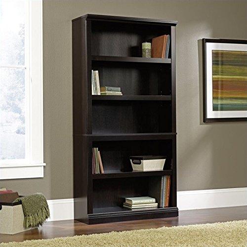 Sauder 414235 5 Shelf Bookcase, L: 35.28'' x W: 13.23'' x H: 69.76'', Estate Black finish by Sauder