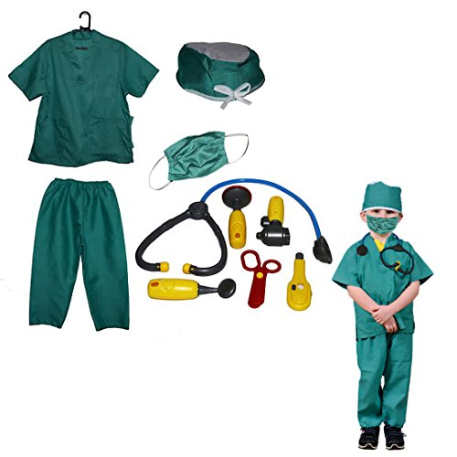 Dazzling Toys Kids Pretend Play Doctor/Nurse Costume Set with Accessories (Nurse Costume For Kids)